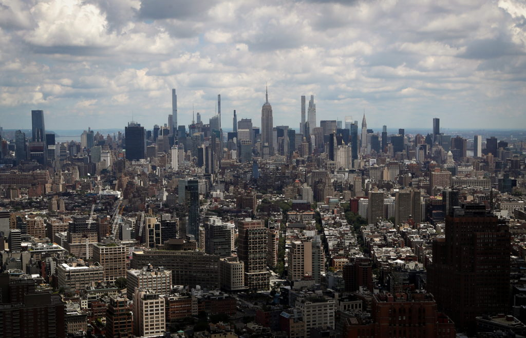 A general view of the skyline of Manhattan as seen from the One World Trade Center Tower in New York