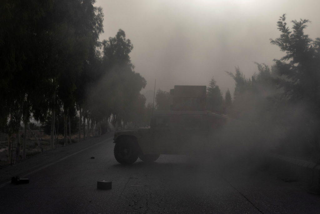A humvee belonging Afghan Special Forces is seen destroyed during heavy clashes with Taliban during the rescue mission of ...