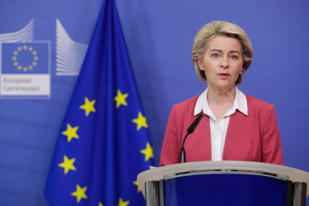EU Commission President von der Leyen delivers a statement on EU's vaccine strategy, in Brussels