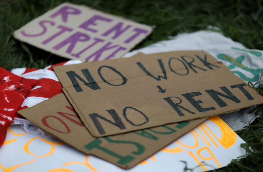 FILE PHOTO: People protest an illegal eviction in Maryland, U.S.