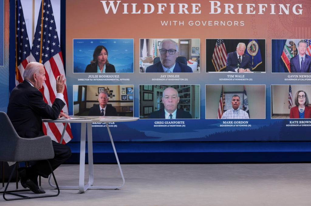 President Joe Biden holds a wildfire briefing with governors at the White House