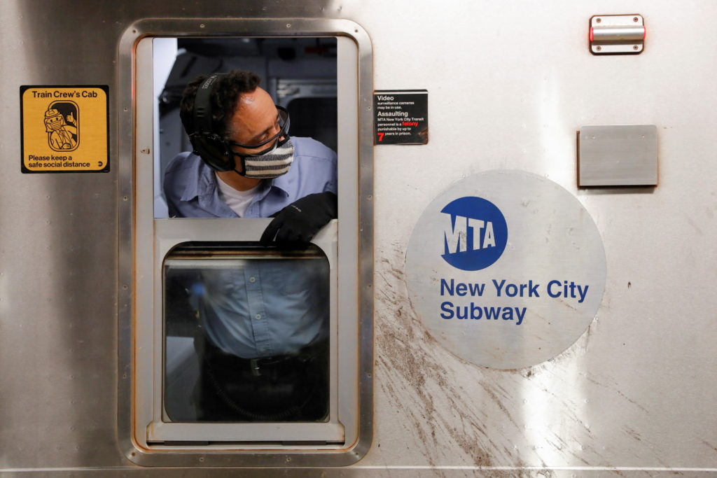 An MTA worker is seen on the subway after The Port Authority of New York and New Jersey and the Metropolitan Transportatio...