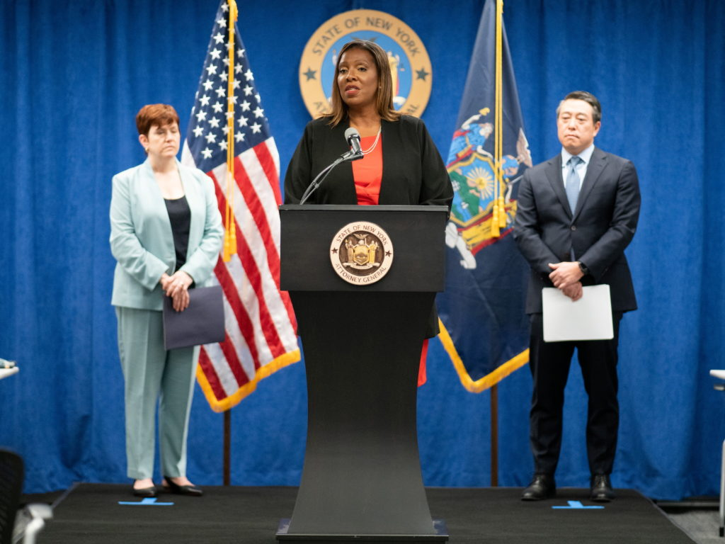 News conference regarding New York Governor Andrew Cuomo in New York City
