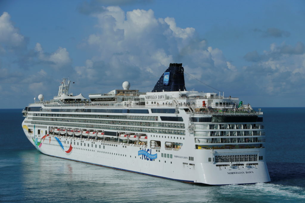 FILE PHOTO: Cruise ship Norwegian Dawn departs port near Hamilton Bermuda