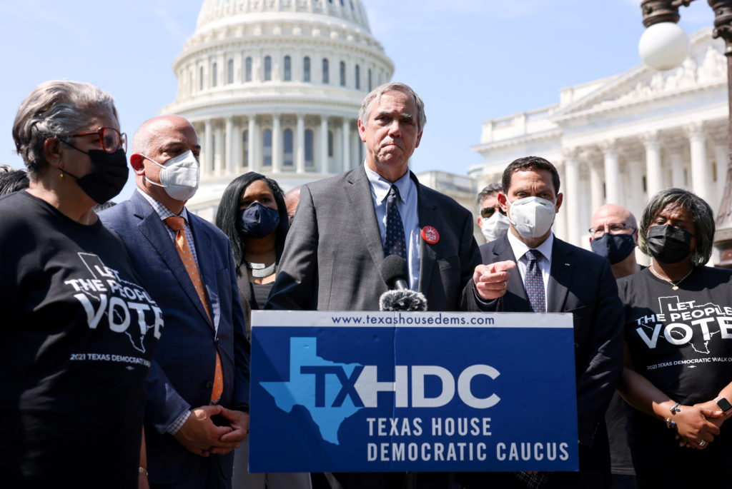Texas House Democratic Caucus holds voting rights press conference on Capitol Hill in Washington, U.S.