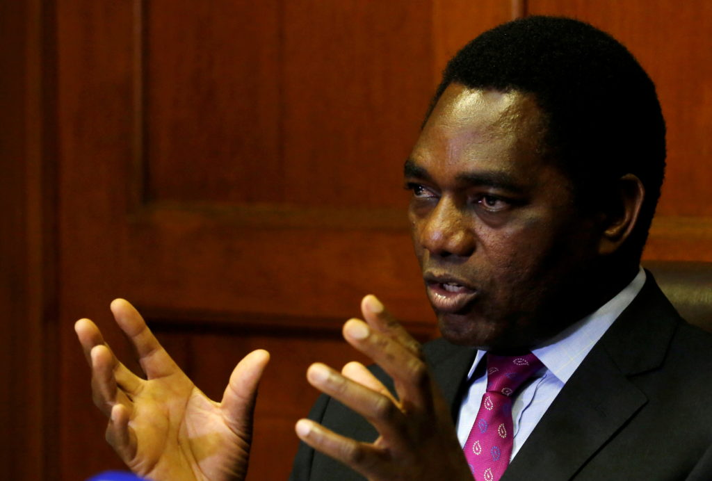 FILE PHOTO: Hakainde Hichilema, leader of ZambiaÕs opposition United Party for National Development (UPND), addresses a me...