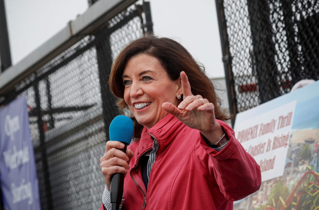FILE PHOTO: New York State Lieutenant Governor Kathy Hochul speaks during an opening ceremony on the first day of the Cone...