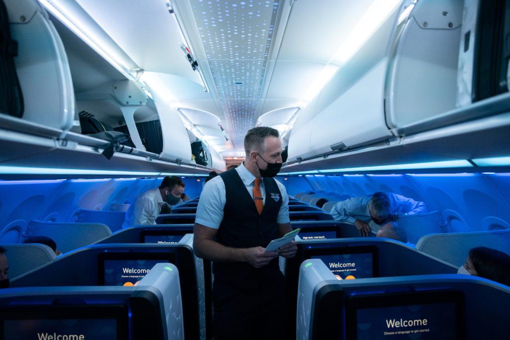 JetBlue event marking first transatlantic flight between New York and London at JFK International Airport in New York City