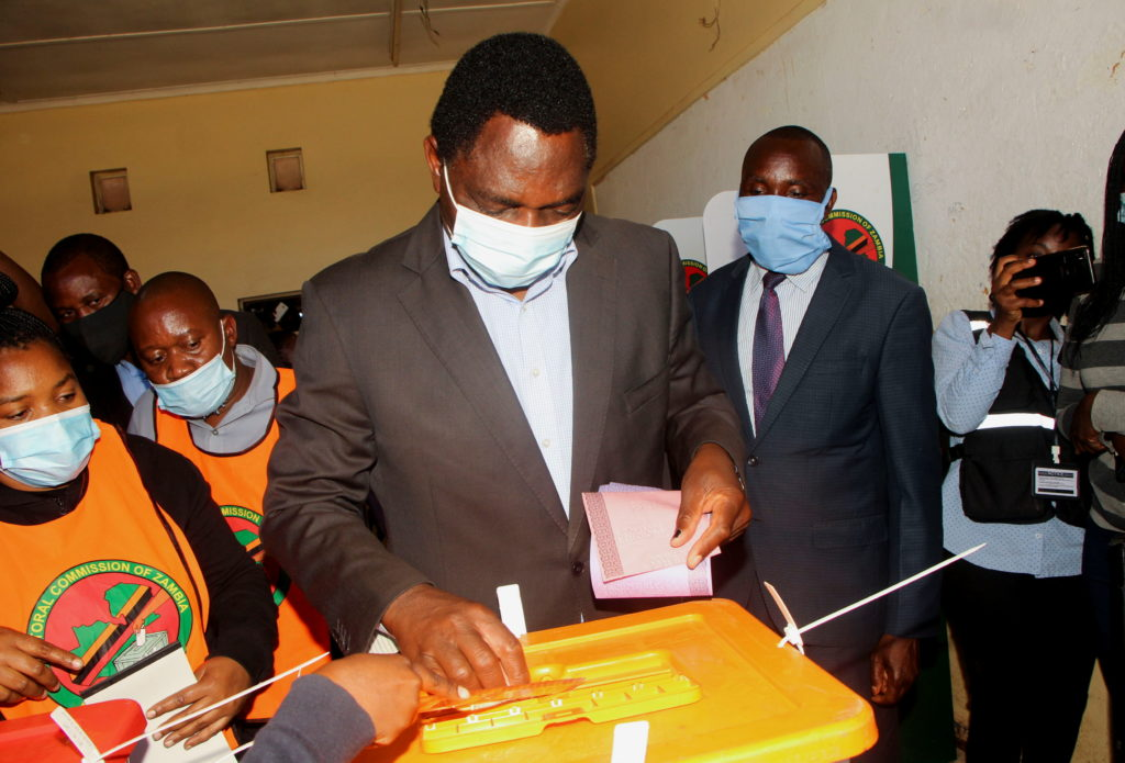 Opposition UPND party's presidential candidate Hakainde Hichilema casts his ballot in Lusaka