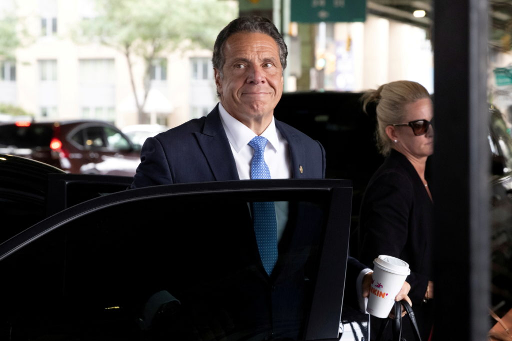 FILE PHOTO: New York Governor Andrew Cuomo arrives to depart in his helicopter after announcing his resignation in Manhatt...