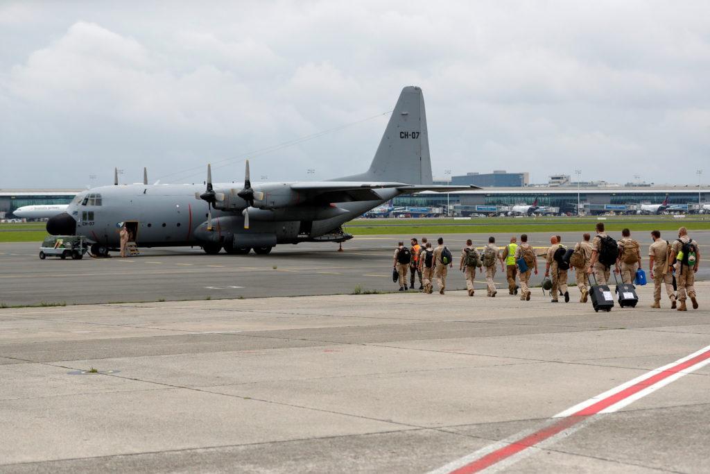 Belgian military planes prepare to depart to Afghanistan to evacuate Belgians, at Melsbroek Air Base