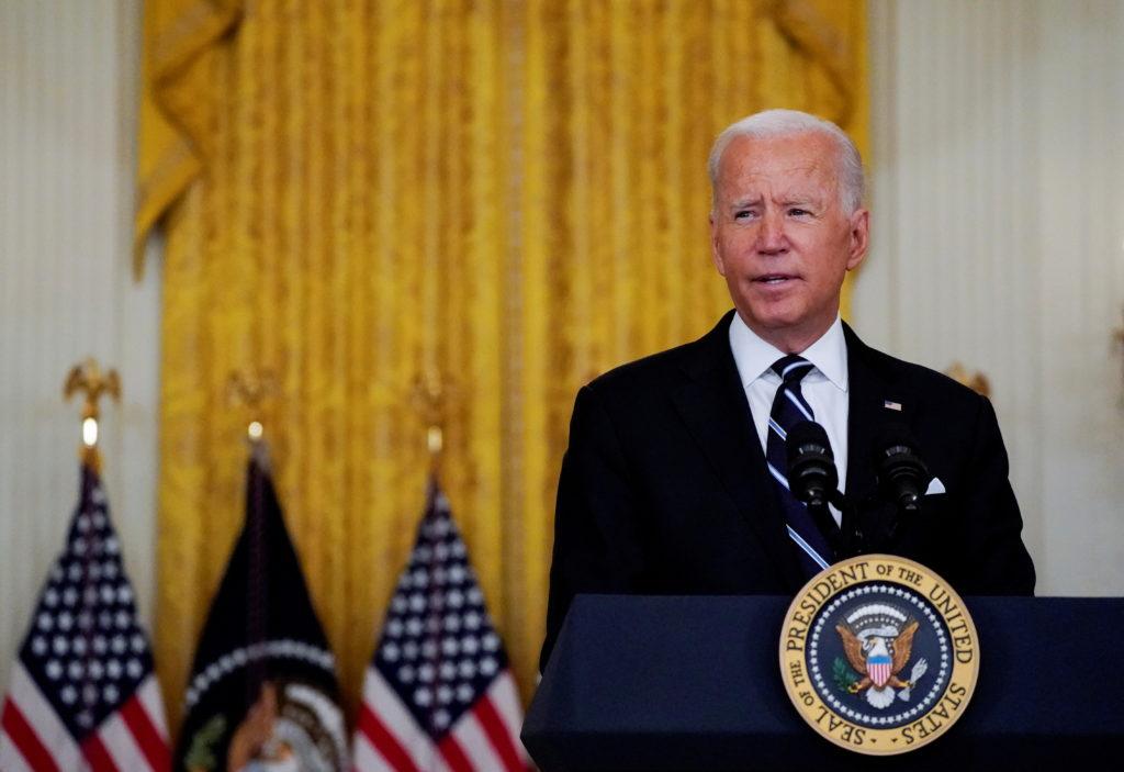 U.S. President Biden speaks about the coronavirus response and vaccination program at the White House in Washington