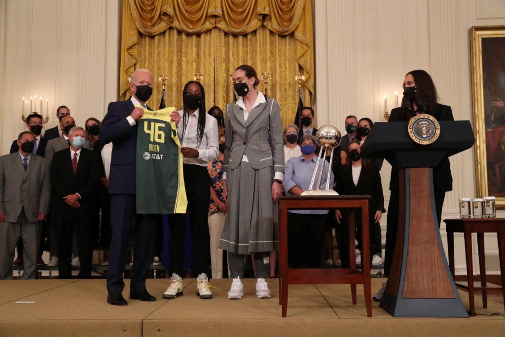 U.S. President Joe Biden hosts the Seattle Storm 2020 WNBA Championship women's basketball team
