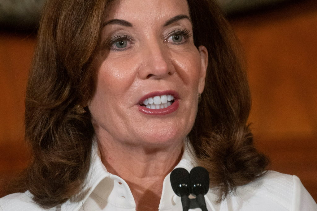 New York Governor Kathy Hochul speaks to the media after a swearing-in ceremony at the New York State Capitol, in Albany, ...