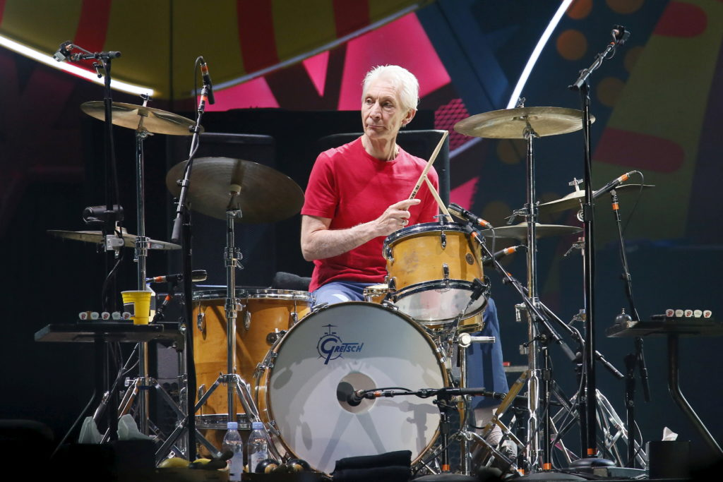 FILE PHOTO: Charlie Watts of British veteran rockers The Rolling Stones performs with his band members Mick Jagger, Keith ...