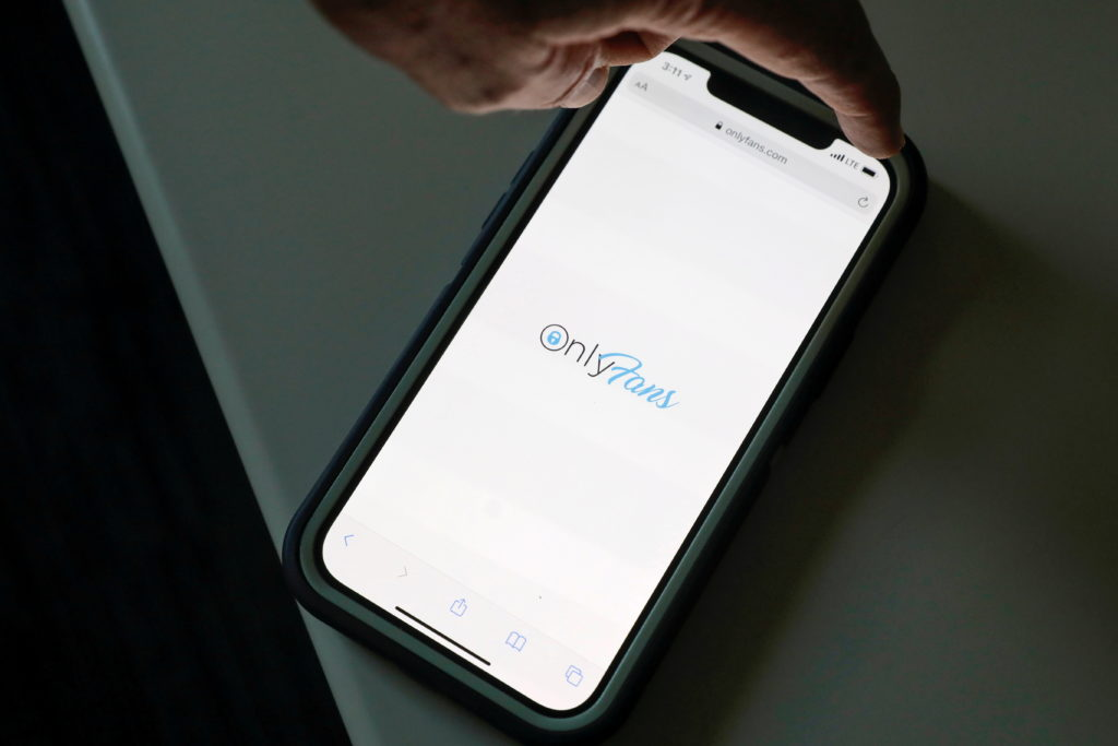 FILE PHOTO: The logo for OnlyFans is seen on a device in this photo illustration in Manhattan, New York City