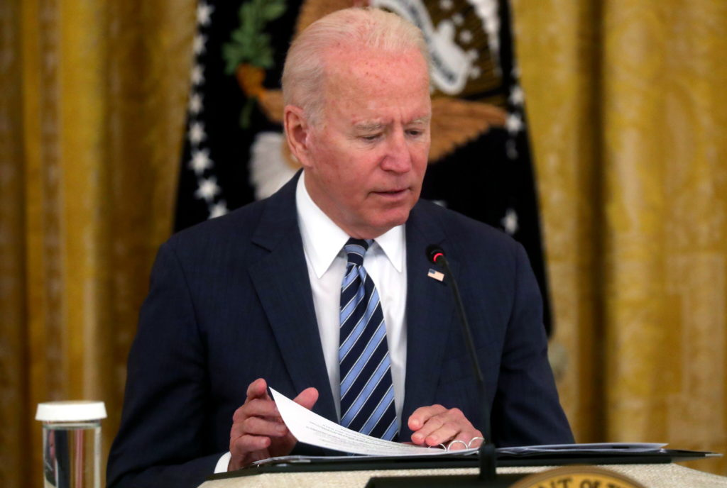 U.S. President Joe Biden has a meeting about cybersecurity at the White House