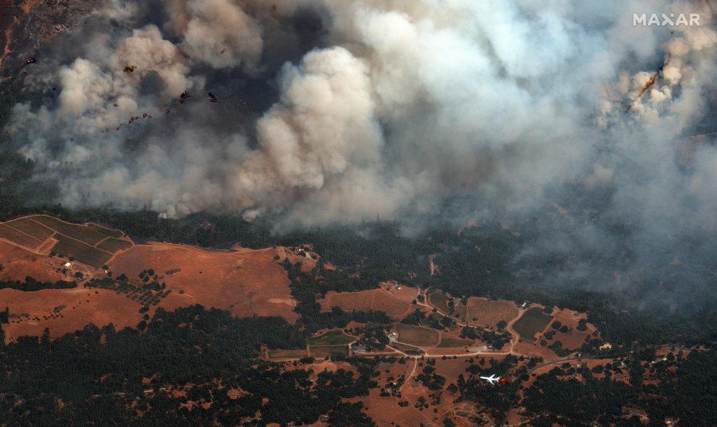 Satellite pictures of Caldor Fire raging across California