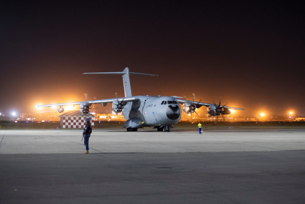 An Airbus A400 transport aircraft of the German Air Force Luftwaffe on the tarmac after landing in Tashkent