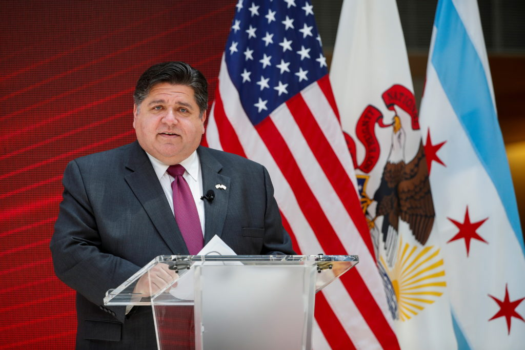 FILE PHOTO: Governor of Illinois Jay Robert Pritzker speaks during a science initiative event at the University of Chicago...
