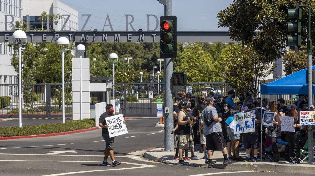 Activision Blizzard employees stage a walkout in the response from company leadership to a lawsuit highlighting alleged ha...