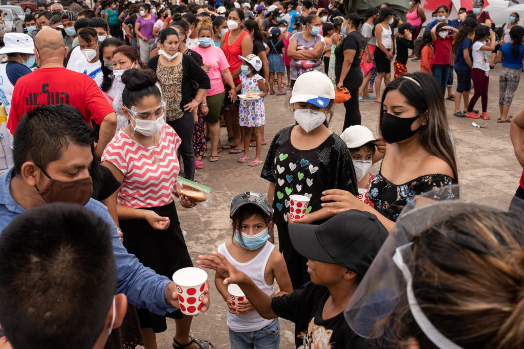 Asylum-seeking migrants live in a public square in Reynosa, Mexico