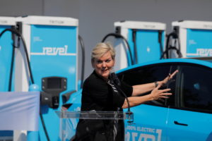 United States Secretary of Energy Jennifer Granholm delivers remarks at a ribbon cutting event for a Revel electric vehicl...