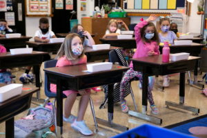 Students in their first day of school at Wilder Elementary School in Louisville, KY