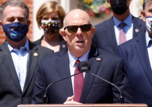 Maryland Governor Hogan leads a news conference after convening a bipartisan infrastructure summit at the Government House...