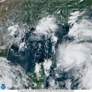 Hurricane Ida moves over Cuba on its way into the Gulf of Mexico in this NOAA satellite image from 5 p.m. Friday, August 27,