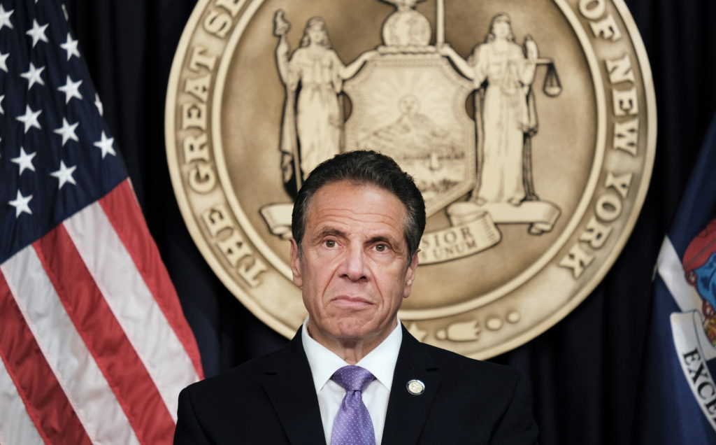 New York Governor Andrew Cuomo holds a news conference in New York City