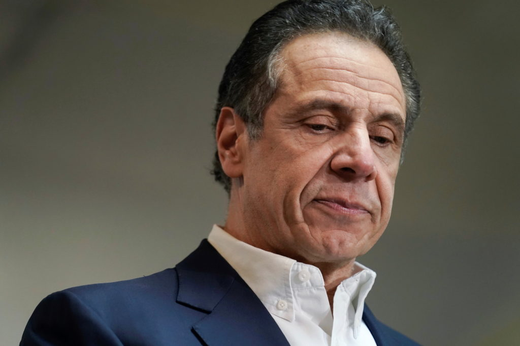New York Governor Andrew Cuomo is seen before getting vaccinated at a church in the Harlem section of New York City