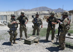 U.S. military advisers from the 1st Security Force Assistance Brigade at an Afghan National Army base in Maidan Wardak pro...