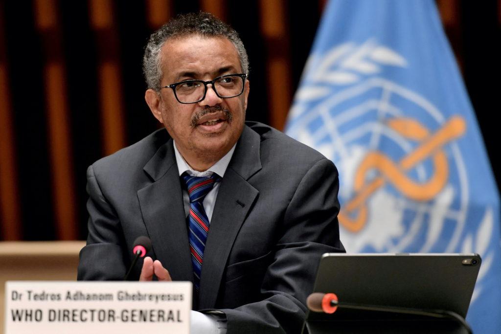 World Health Organization (WHO) Director-General Tedros Adhanom Ghebreyesus attends a news conference in Geneva Switzerlan...