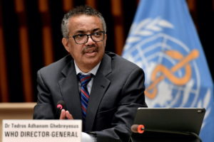 World Health Organization (WHO) Director-General Tedros Adhanom Ghebreyesus attends a news conference in Geneva Switzerland July 3, 2020. Photo by Fabrice Coffrini/Pool via REUTERS