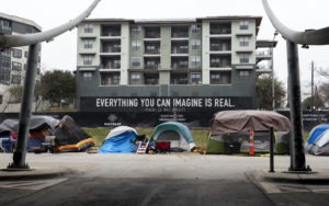 Feb 13, 2021; Austin, TX, USA; Warming centers have opened Saturday for people experiencing homelessness as temperatures