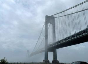 The Verrazzano-Narrows bridge is seen in morning fog, in New York City