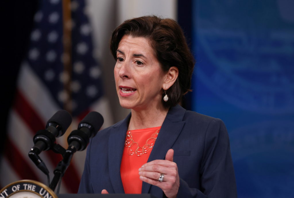 FILE PHOTO: U.S. Secretary of Commerce Gina Raimondo speaks during an infrastructure event at the White House in Washingto...