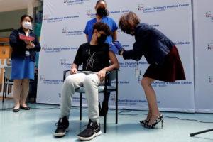 Children receive Pfizer-BioNTech vaccine for the coronavirus disease (COVID-19) in New Hyde Park, New York