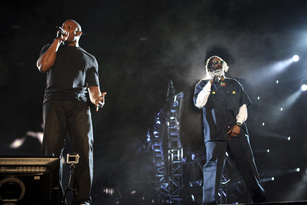 Dr. Dre and Snoop Dogg perform at the 2012 Coachella Valley Music and Arts Festival in Indio, California.