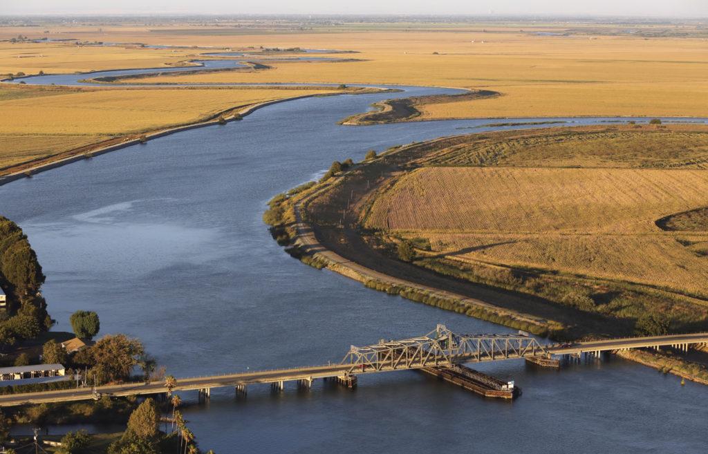 Aerial view of the Sacramento San Joaquin River Delta is seen near Rio Vista, California