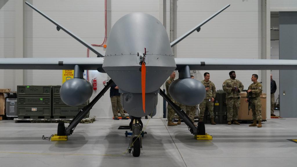 A U.S. Air Force MQ-9 Reaper drone sits in a hanger at Amari Air Base