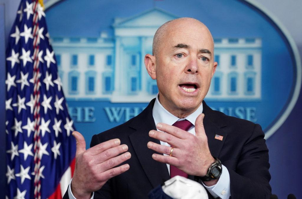 DHS Secretary Mayorkas speaks at the White House in Washington