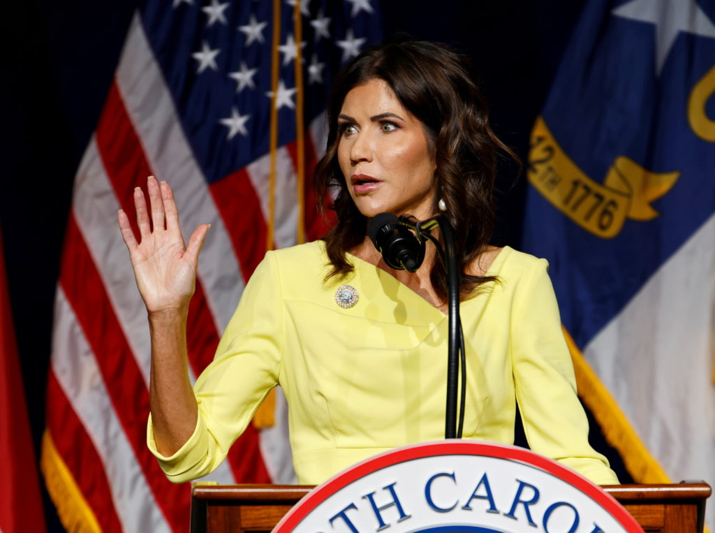 South Dakota Governor Noem speaks at North Carolina GOP convention on day former President Trump was expected to speak in ...