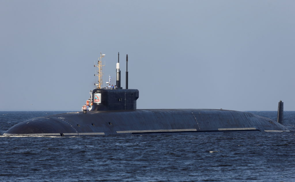 The nuclear-powered ballistic missile submarine K-549 Knyaz Vladimir arrives for the Navy Day parade in Kronstadt