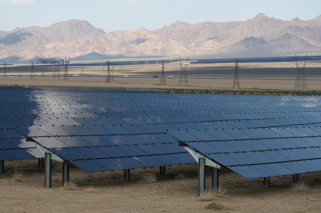 Solar panels are seen at the Desert Stateline project near Nipton