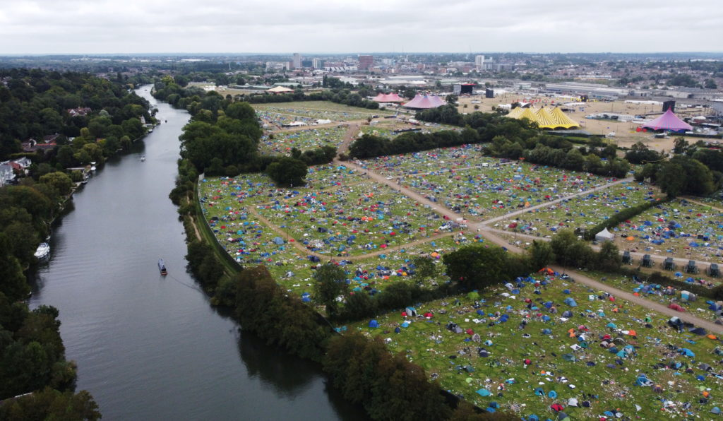 Abandoned tents are seen at the Reading Festival campsite after the event, in Reading, Britain