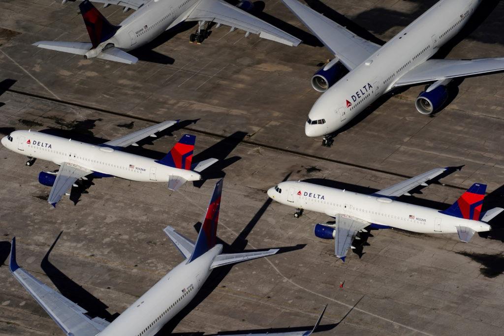 FILE PHOTO: Delta Air Lines passenger planes parked in Birmingham
