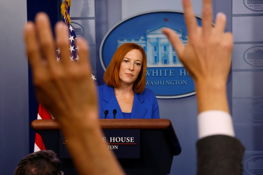 White House Press Secretary Jen Psaki attends a press briefing at the White House in Washington
