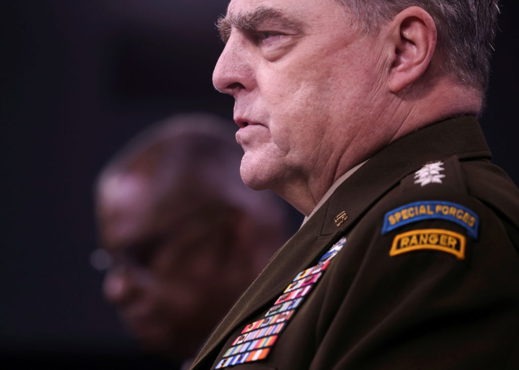 U.S. defense chiefs Austin and Milley discuss military mission in Afghanistan during news conference at the Pentagon in Wa...
